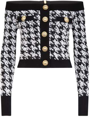 Balmain Off-The-Shoulder Houndstooth Tweed Top