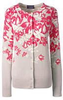 Lands' End Women's Tall Supima Print Cardigan Sweater-Black Geo Snowflake