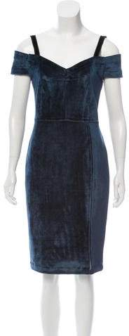 Yigal Azrouel Velvet Cold-Shoulder Dress w/ Tags