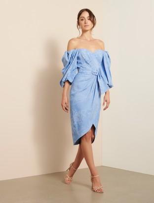 Forever New Elmira Puff Sleeve Midi Dress - Blue - 12