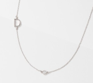 Affinity Diamond Jewelry Affinity Sterling Silver Diamond Initial Necklace, 1/10cttw