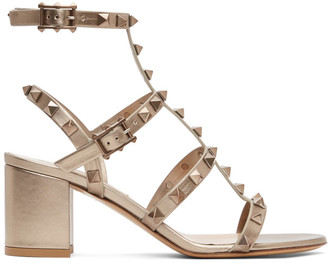 Valentino Gold Garavani Rockstud Block Heeled Sandals