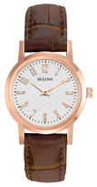 Bulova Ladies Rose Gold and Leather Watch