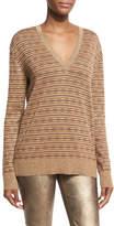 Ralph Lauren Metallic Deco Knit V-Neck Pullover, Brown