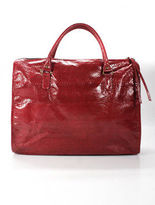 Beirn Cherry Red Snakeskin Extra Large Tote Travel Handbag New With Tags