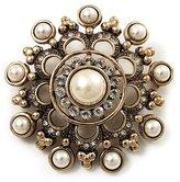 Avalaya Antique Filigree Simulated Pearl Corsage Brooch