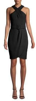 Eliza J Belted Cross-Front Dress