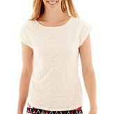 JCPenney STYLUS Stylus Cap-Sleeve Lace Top