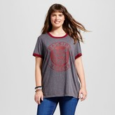 Mighty Fine Women's Plus Size Saved By The Bell® Bayside Tigers Graphic Ringer Tee Charcoal Gray Juniors')