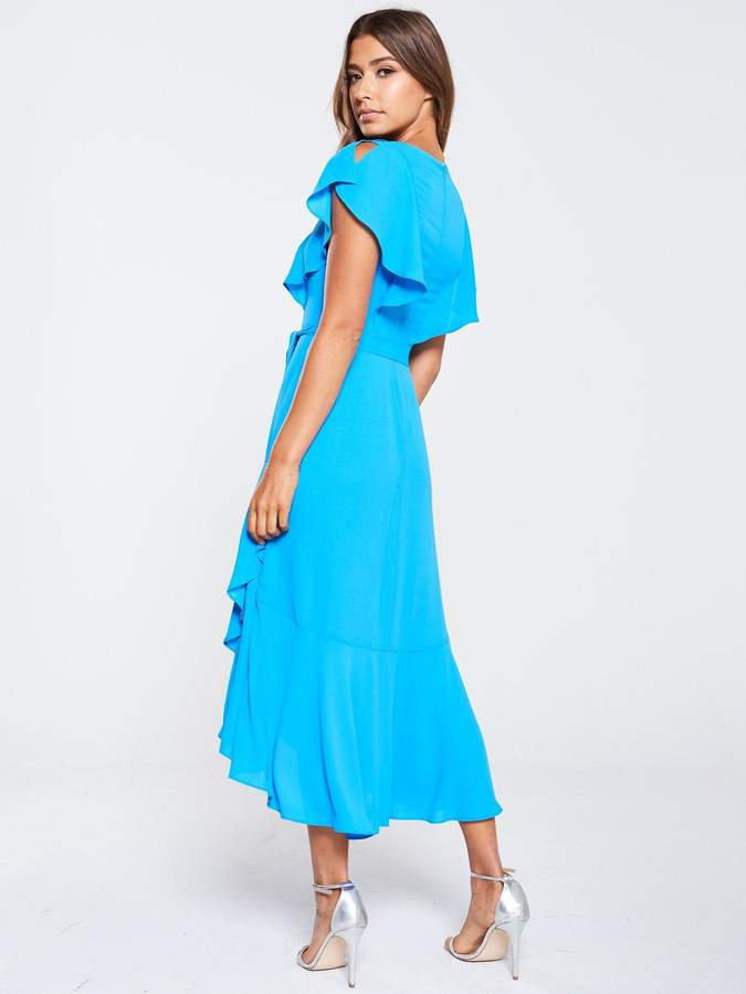 Karen Millen Draped Tiered Midi Dress - Blue