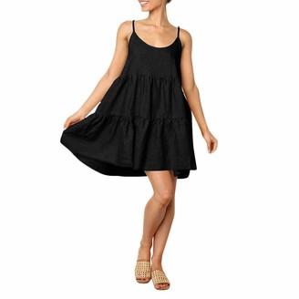 Toamen Women's Dress Sale Clearance Sexy Sleeveless Backless Bow Bandage Loose Summer Beach Party Dress Sundress(Black 14)