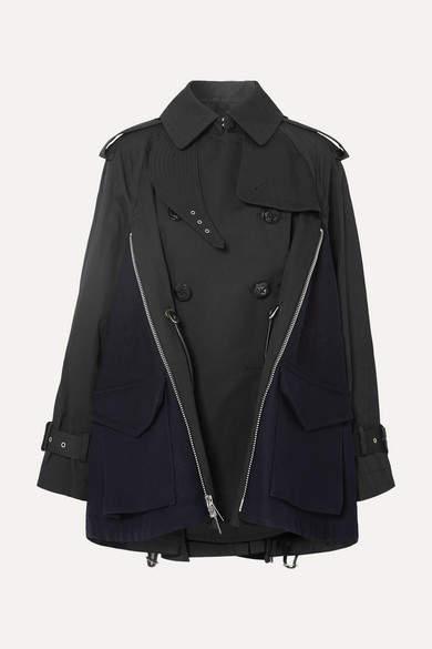 bf6862039 Cotton-gabardine And Wool-felt Trench Coat - Black