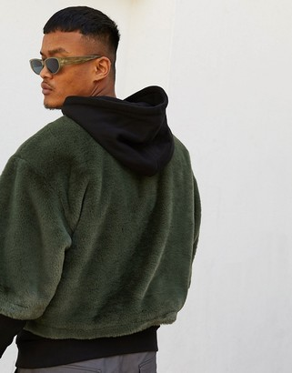Asos Design DESIGN oversized faux fur hoodie with double layer in black & khaki