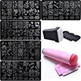 Bluezoo Nail Stamping Manicure Image Plates Accessories Kit *DREAM CATCHER* 2 Stampers and Scrapters Included For Diy Salon