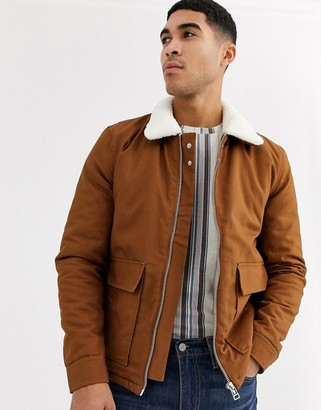 Topman jacket in tan with borg collar