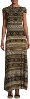 Fuzzi Cap-Sleeve Striped Tulle Maxi Dress, Black/Brown
