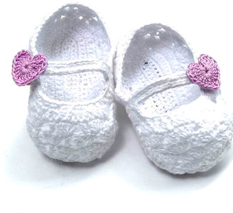Loralin Design Girls' Infant Booties and Crib Shoes White - White & Lavender Heart Strap Booties - Girls