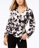 Bar III Ruched Faux-Wrap Top, Created for Macy's