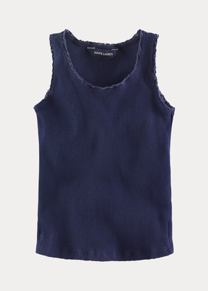 Ralph Lauren Lace-Trim Ribbed Tank