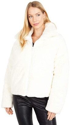 Apparis Billie Zip Front Short Faux Fur Coat (Ivory) Women's Clothing