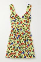 Emilia Wickstead Riona Pleated Floral-print Silk-crepe Mini Dress - Lime green