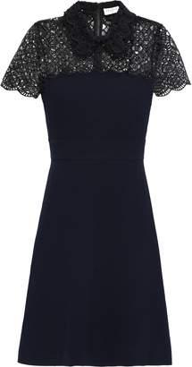 Sandro Bead-embellished Lace-trimmed Crepe Mini Dress
