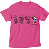 Disney Adult Womens Embroidered Sketchy Minnie T Shirt, Pink (Large)