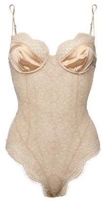 Kiki de Montparnasse Grand Soleil Silk Charmeuse-trimmed Lace Bodysuit