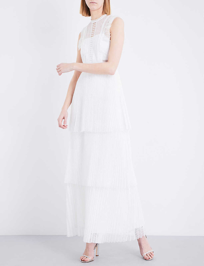 Whistles Theodora pleated floral-lace wedding dress