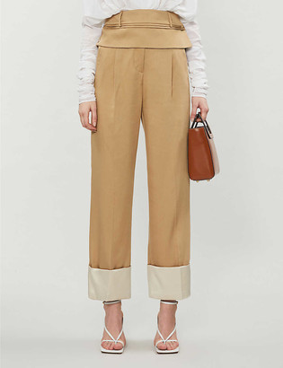 CHRISTOPHER ESBER Cuffed straight-leg high-rise twill trousers