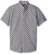 Nick Graham Men's Iron Man Arc Reactor Check Short Sleeve Sport Shirt