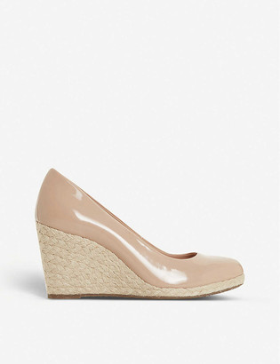 Dune Annabella patent-leather espadrille wedge sandals