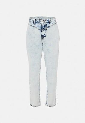 Missguided Light Blue Front Yoke Mom Jeans