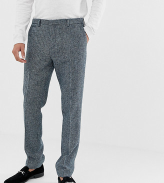 Noak slim fit harris tweed suit pants in blue