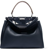Fendi Peekaboo Medium Python-trimmed Leather Tote - Navy
