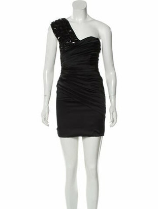 Thomas Wylde One-Shoulder Mini Dress Black