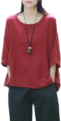 Zilcremo Women Cotton Linen Tunic Tee Shirt Baggy Oversized Vintage Tops Red One Size