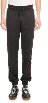 Givenchy Men's Velvet-Trim Logo-Waistband Jogger Pants