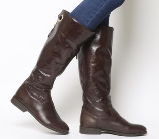 Office Kayak Casual Back Zip Knee Boots Brown Leather