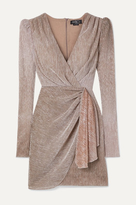 PatBO Wrap-effect Ombre Lurex Mini Dress - Taupe