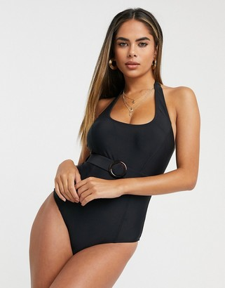 Pour Moi? Pour Moi Fuller Bust belted halter swimsuit with belt in black