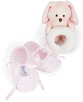 Feltman Brothers Baby Girls Lace Booties and Teddy Bear Rattle Gift Set