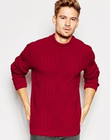 Asos Cable Knit Sweater with Chunky Neck