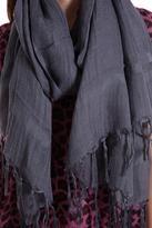 Italian Linen Scarf In Charcoal