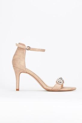 Wallis **Pink Diamante Pearl Trim Heel Sandal