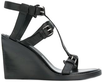 Ann Demeulemeester buckled wedge sandals