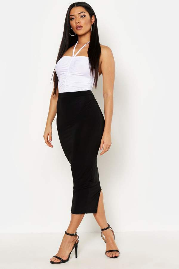 boohoo Basic High Waist Slinky Fitted Midaxi Skirt