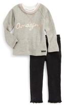 Hudson Toddler Girl's Amazing French Terry Sweatshirt & Jeans Set