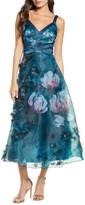 Marchesa Embellished Floral Print Organza Midi Dress