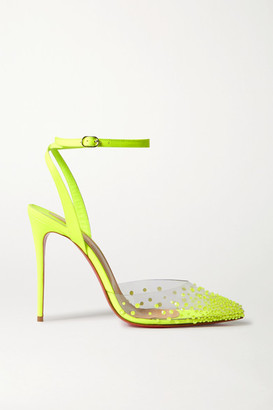 Christian Louboutin Spikaqueen 100 Neon Crystal-embellished Pvc And Leather Pumps - Chartreuse